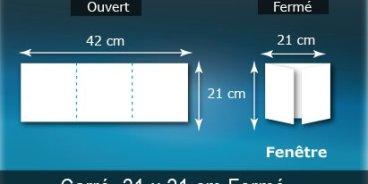 Dépliants / Plaquettes ouvert 420x210mm - fermé 210x210mm 3 volets carré plié 2 plis type de pliage fenetre