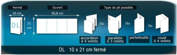 Dépliants / Plaquettes ouvert 398x210mm - fermé 100x210mm