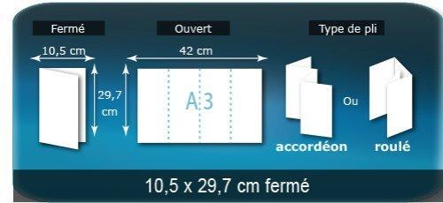 Dépliants / Plaquettes ouvert A3 420x297mm - fermé 105x297 mm plié 3 plis 4 volets type de pliage roulé ou accordéon en Z
