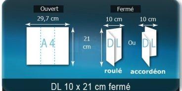 Dépliants / Plaquettes ouvert A4 297x210mm - fermé DL 100X210mm 3 volets plié 2 plis type de pliage roulé ou accordéon en Z