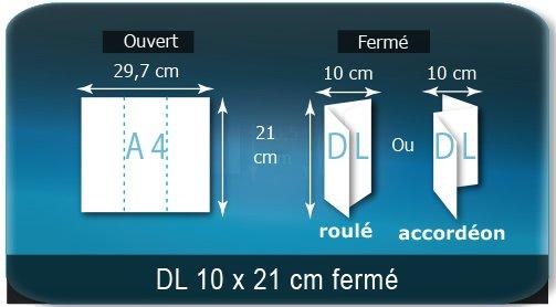 Dépliants / Plaquettes ouvert A4 297x210mm - fermé DL 100X210mm