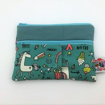 Trousse double zip licornes phosphorescentes fond bleu