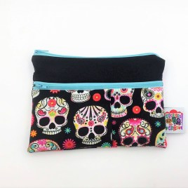 Trousse double zip têtes de mort mexicaines multicolores