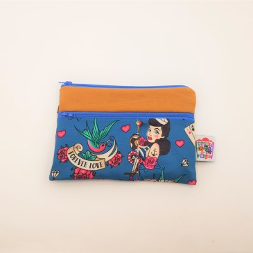 Trousse double zip tattoos old school