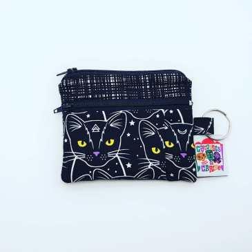 Porte monnaie double zip chats phosphorescents fond noir