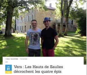 article sur la maison d'hôtes les hauts de saulies