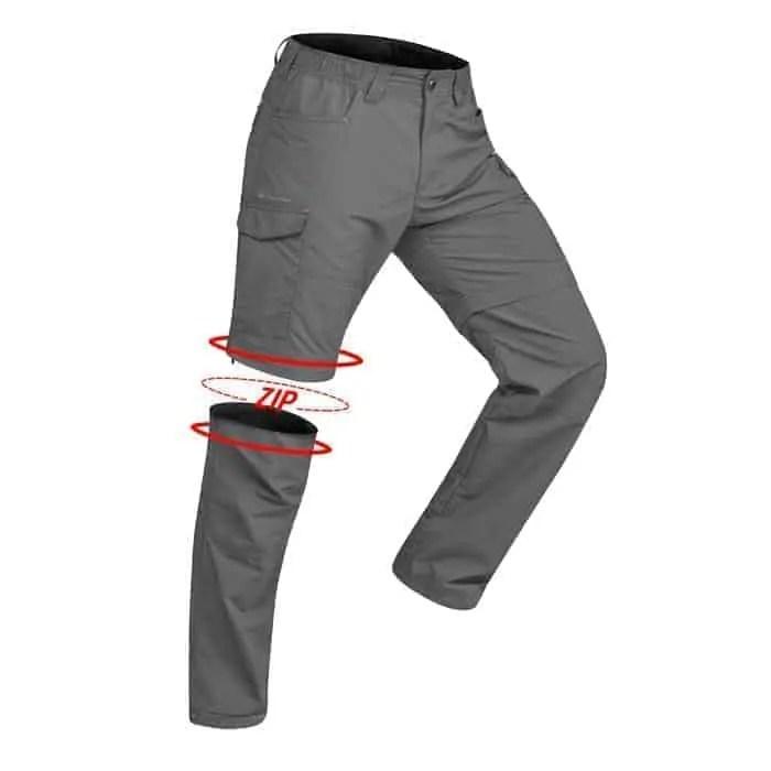 Pantalon+modulable+trekking+montagne+TREK100+homme+gris+fonc