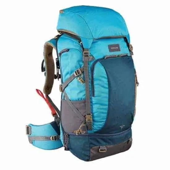 Sac+dos+trekking+TRAVEL500+50+litres+cadenassable+femme+bleu