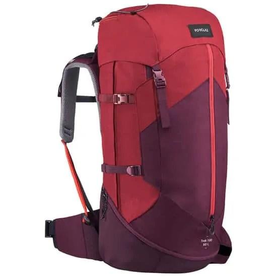 Decathlon Sac+dos+de+trekking+en+montagne+femme+TREK+100+Easyfit+50L+rouge