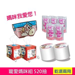 【Leshi樂適】嬰兒乾濕兩用布巾-寵愛媽咪組(520抽)