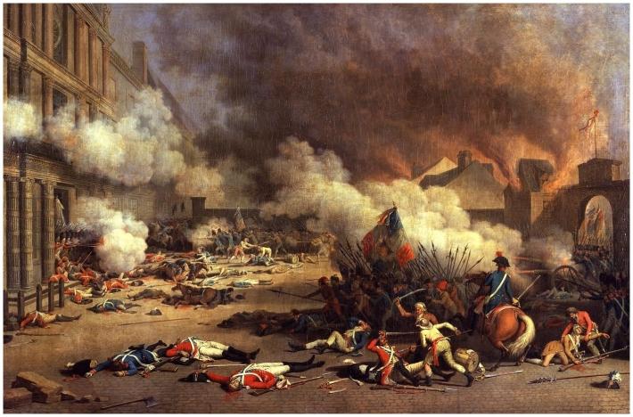 Prise du palais des Tuileries le 10 août 1792. Peinture de Bertaux