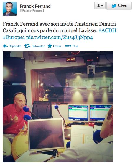 Le compte twitter de Franck Ferrand le 2 septembre