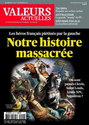 """Image 2 : Couverture de """"Valeurs Actuelles"""" du 5 décembre 2013"""