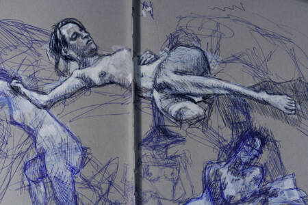 capturing figure over spine and previous sketches