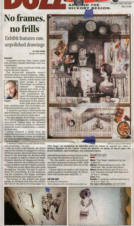 Newspaper front page featuring Les III's First Steps solo exhibition.