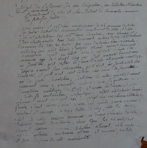 Selles St Denis - Certificat de citoyenneté - 26 août 1767