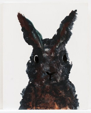 Black and brown bunny on board 28 x 22