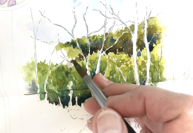 Painting the distant woods
