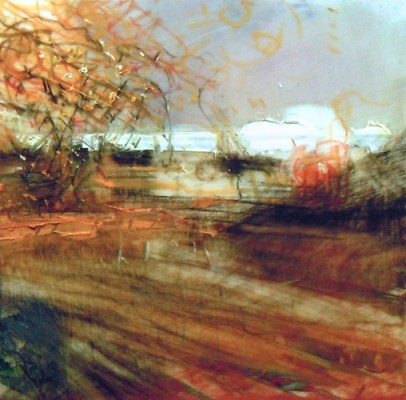 """Autumn Field. Charcoal and oil on mylar, 3.5"""" x 3.5"""", 2012 SOLD"""