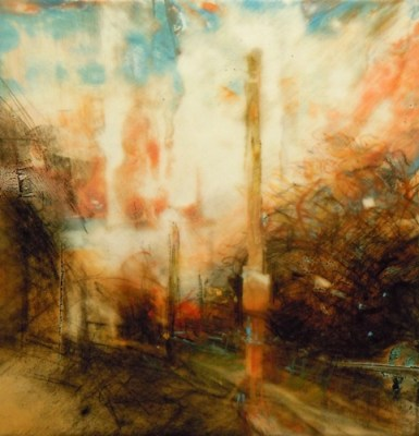 """Autumn Streetsign. Charcoal, oil and pastel on mylar, 5"""" x 4.75"""", 2012 SOLD"""
