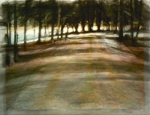 """Frozen road, Banff. Charcoal on vellum over acrylic on paper, 20.5"""" x 26.5"""", 2010 SOLD"""