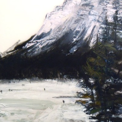 """Lake Louise. Charcoal and oil on mylar, 5"""" x 5"""", 2011 SOLD"""