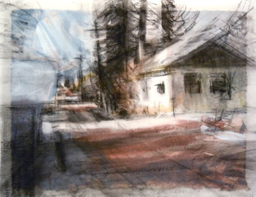"""White House, Banff. Charcoal on vellum over acrylic on paper, 5"""" x 6.5"""", 2010 SOLD"""