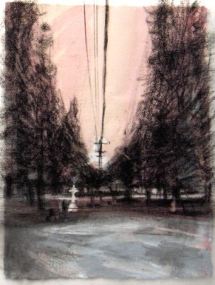 """Powerline, Banff. Charcoal on vellum over acrylic on paper, 5"""" x 6.5"""", 2010 SOLD"""