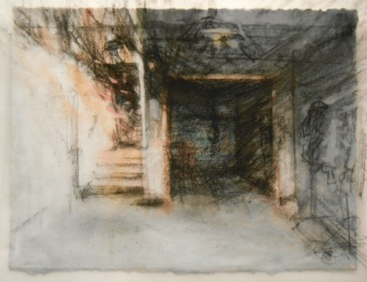 """Going up. Charcoal on vellum over acrylic on paper, 5"""" x 6.5"""", 2010 