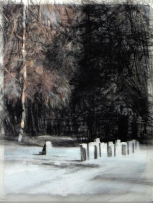 """Stones and trees, Banff. Charcoal on vellum over acrylic on paper, 5"""" x 6.5"""", 2010 SOLD"""