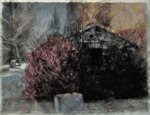 """Stone house, Banff. Charcoal on vellum over acrylic on paper, 5"""" x 6.5"""", 2010 SOLD"""