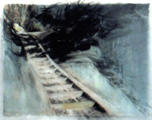 """Stairs, Banff. Charcoal on vellum over acrylic on paper, 5"""" x 6.5"""", 2010 SOLD"""
