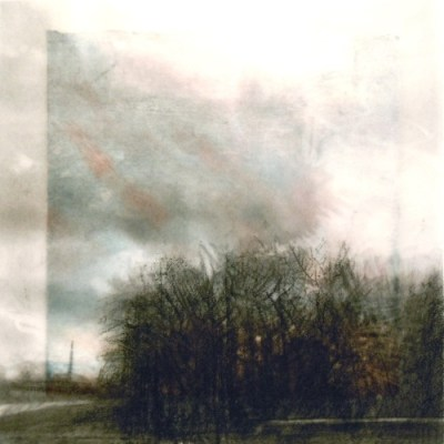"""Clouds and Trees. Charcoal on vellum over acrylic on paper, 5.25"""" x 5.25"""", 2012 SOLD"""