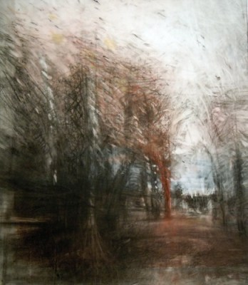 """Copse. Charcoal on vellum over acrylic on paper, 17"""" x 15"""", 2012 SOLD"""