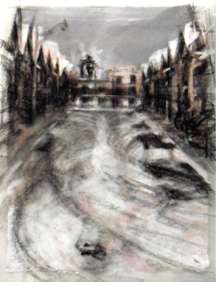 """No parking. Charcoal on vellum over acrylic on paper, 5"""" x 6.5"""", 2010 SOLD"""