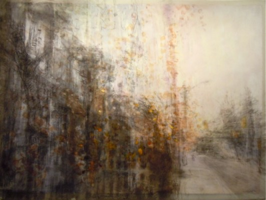 """Yellow Leaves. Charcoal and oil on vellum over acrylic on paper, 34"""" x 45.5"""", 2011 SOLD"""