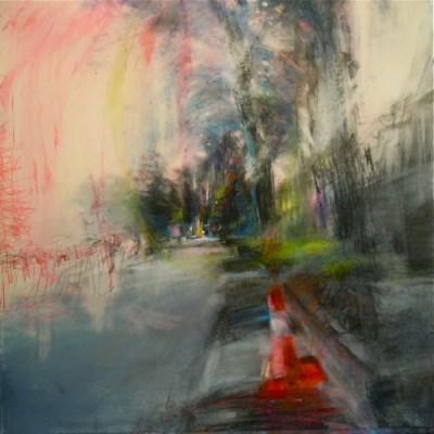 """Summer Twilight, Parkdale. Oil and charcoal on mylar, 18"""" x 18"""", 2011 SOLD"""