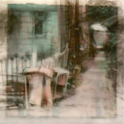 """Drawers. Charcoal on vellum over acrylic on paper, 5.5"""" x 5.5"""", 2011 SOLD"""