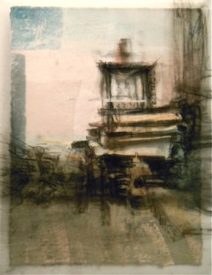 """Blocked Door. Charcoal on vellum over acrylic on paper, 5"""" x 6.5"""", 2010 SOLD"""