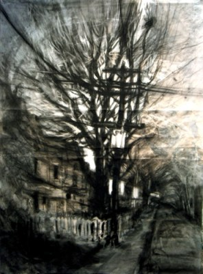 """Street Corner. Charcoal on vellum over acrylic on paper, 30"""" x 22.5"""", 2009 SOLD"""