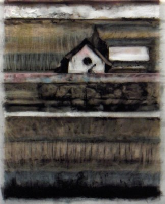 """Birdhouse. Charcoal on vellum over acrylic on paper, 5"""" x 6.5"""", 2010 SOLD"""