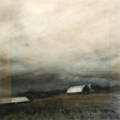 """Rolling Stormclouds. Charcoal on vellum over acrylic on paper, 18"""" x 18"""", 2011 SOLD"""