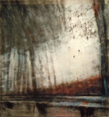 """Birds and Guardrail. Charcoal on vellum over acrylic on paper, 34"""" x 36"""", 2011 SOLD"""