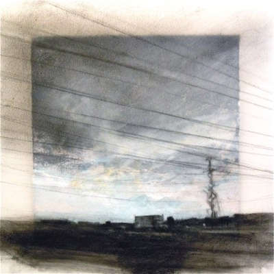 """Power Lines. Charcoal on vellum over acrylic on paper, 6.5"""" x 6.5"""", 2011 SOLD"""