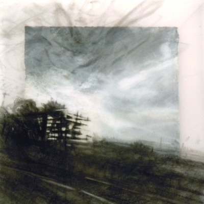 """Unconstructed Building. Charcoal on vellum over acrylic on paper, 6.5"""" x 6.5"""", 2011 SOLD"""