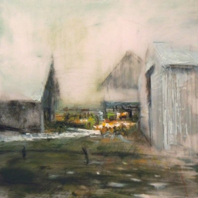 """Barns. Oil and charcoal on mylar, 5"""" x 5"""", 2011 SOLD"""