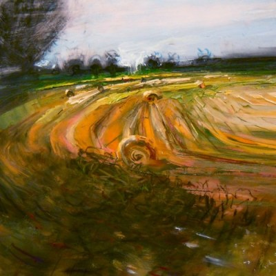 """Hay Bales. Oil and charcoal on mylar, 5"""" x 5"""", 2011 SOLD"""