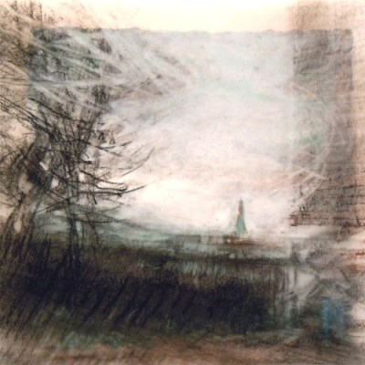"""Steeple. Charcoal on vellum over acrylic on paper, 5.25"""" x 5.25"""", 2012 SOLD"""