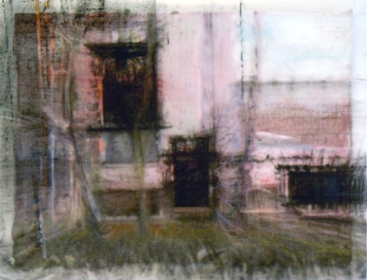 """Three Rectangles, Wabash. Charcoal and watercolour pencil on vellum, over acrylic on paper, 5"""" x 6.5"""", 2010 SOLD"""