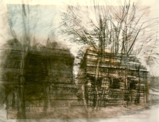 """Tree House. Charcoal on vellum over acrylic on paper, 5"""" x 6.5"""", 2012 